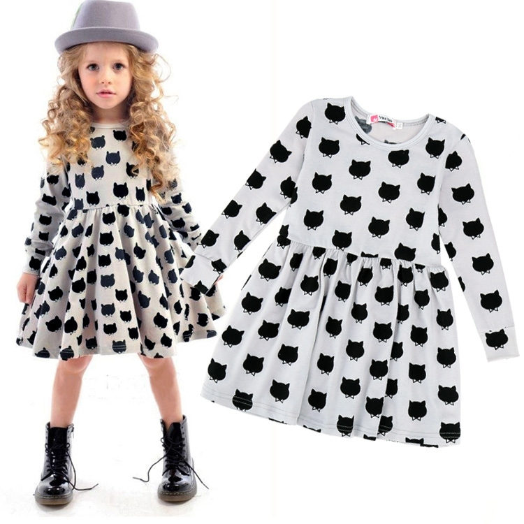 Brand New Spring Animal Print Girl Dress Kids Clothes 2015 Fashion Long Sleeve Girl Cotton Dress Casual Children Clothing(China (Mainland))