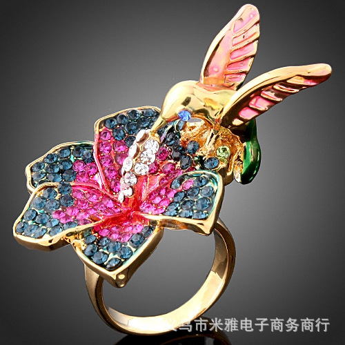 Birds and flowers Fine jewelry Stone Rhinestone crystal inlaid ring 24K Gold plated Rings for women New Sale free shipping R087(China (Mainland))
