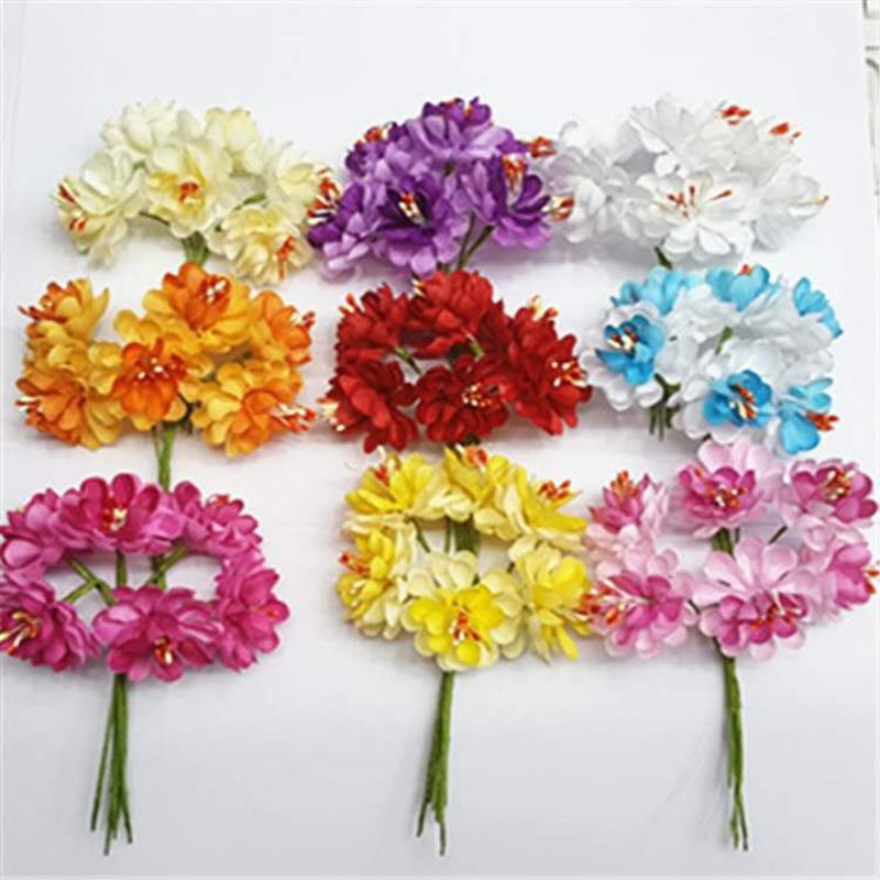 Wedding decoration Head Multicolor Mulberry Fabric Flower Bouquet Wedding Artificial flowers Apple Flowers 72pcs/lot 7XJH001(China (Mainland))