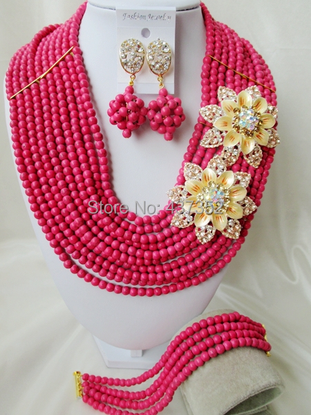Fashion Pink Turquoise Beaded Nigerian Wedding Beads African Beads Jewelry Set TJS-343<br><br>Aliexpress