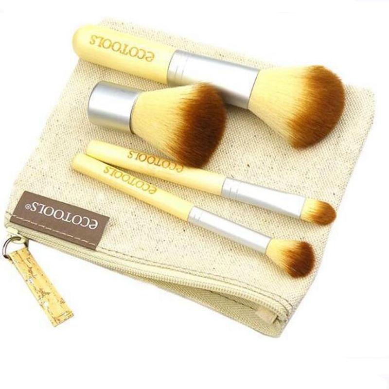 New Fashion Hot selling 4pcs/ set Bamboo Makeup Eyeshadow Blush Brushes Kit Face Foundation Make up Portable Brushes Tools Set(China (Mainland))