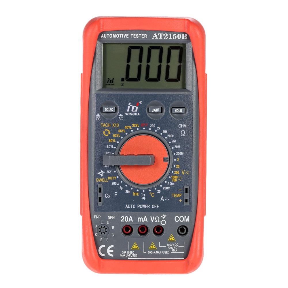 HD AT2150B Digital Multimeter Automotive Meter Tester Tachometer Cap. Temp. Tester Sensor w/ LCD Backlight(China (Mainland))