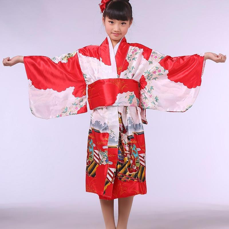 Red Stylish Japanese Baby Girl Kimono Dress Cute Kid Yukata With Obi School Girl Dance Costumes Child Cosplay Dress(China (Mainland))