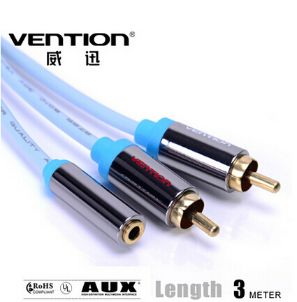 Vention! Standard 3.5MM Female to dual RCA Male Audio Cable 3M Adaptor Cable For DVD/CD/MP3/TV(China (Mainland))
