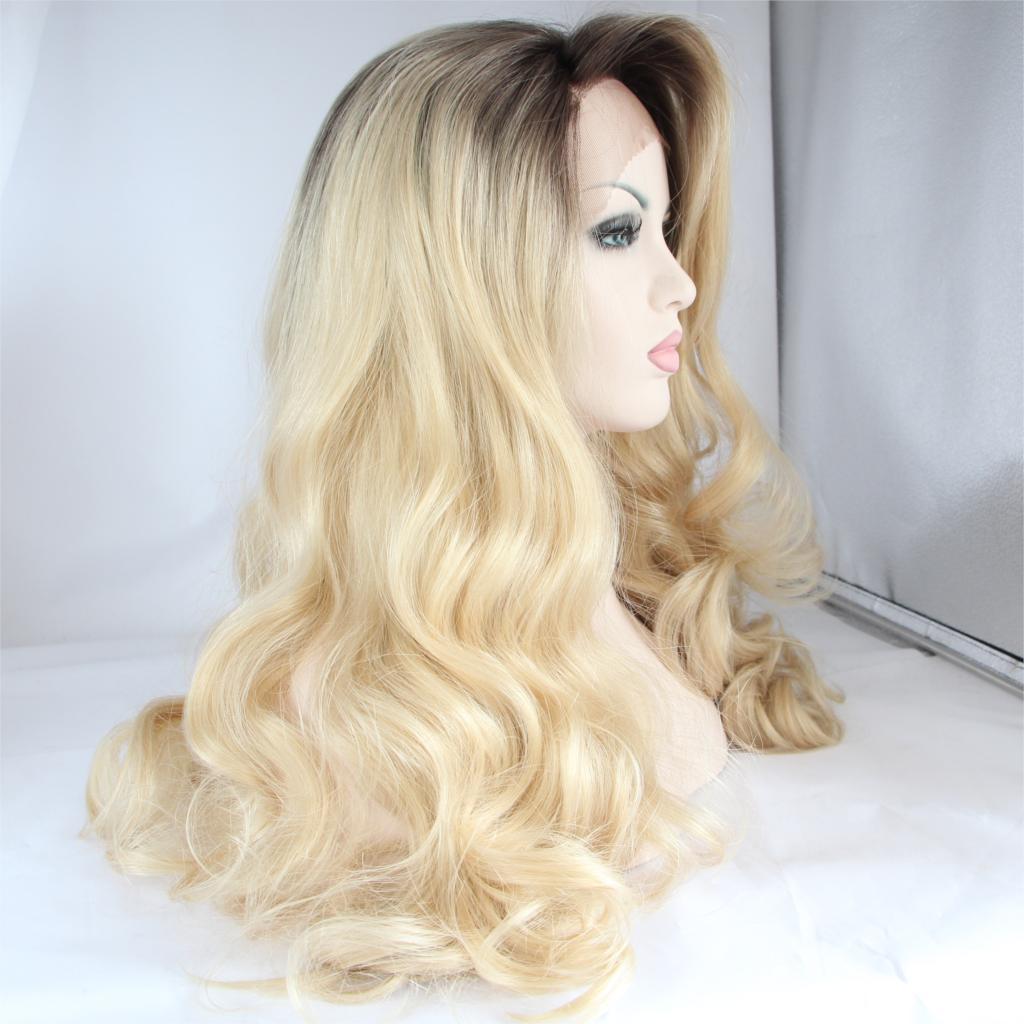 Здесь можно купить  Dark Roots Blonde Wig Synthetic Hair Glueless Dark to Blonde Hair Heat Resistant Long Blonde Wig Synthetic Lace Front Wig   Волосы и аксессуары