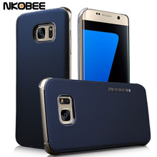 Luxury For Samsung Galaxy S7 Edge & S7 Case Leather+Transparent Plastic Hard Back cover for samsung galaxy s7 edge accessories(China (Mainland))