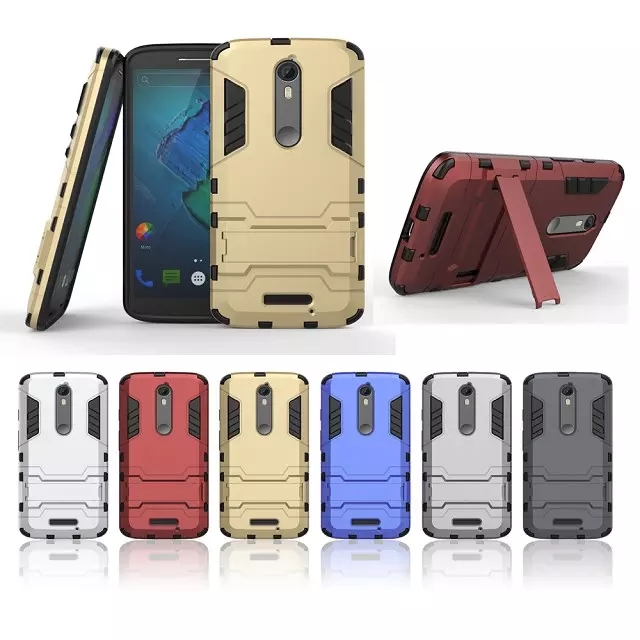 2 in 1 Combo Shockproof Cover For Motorola Moto X Force /Driod Turbo 2 Heavy Duty Kickstand Case Tough Armor Shield Hard Cover(China (Mainland))