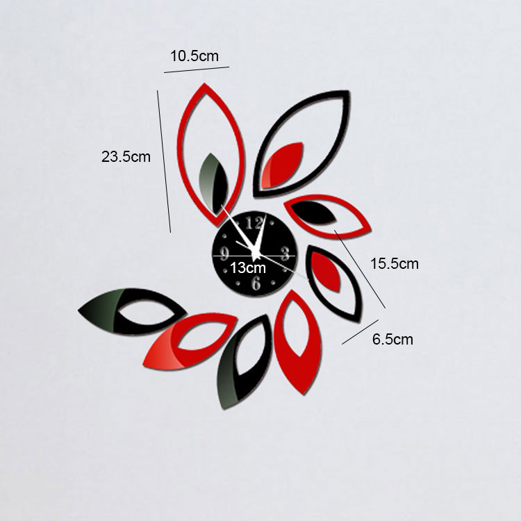 Removable Red and Black Acrylic 3D Clock Lotus Mirror Effect Mural Wall Sticker Modern Home Room Decor DIY(China (Mainland))