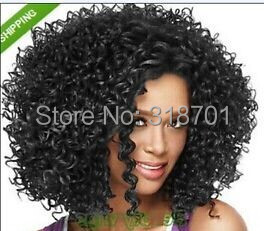 Fashionable Women's Glueless Deep Curly Short Hair Wig for African American free shipping