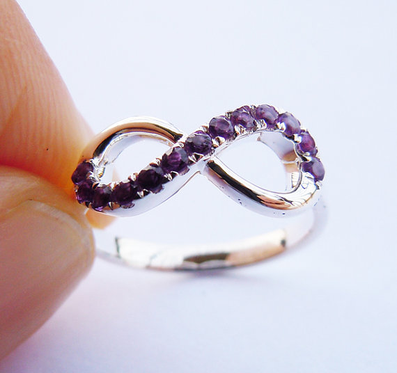 Infinity Ring Sterling Silver&Amethyst Made order Sizes - Silver Handmade WorkShop store