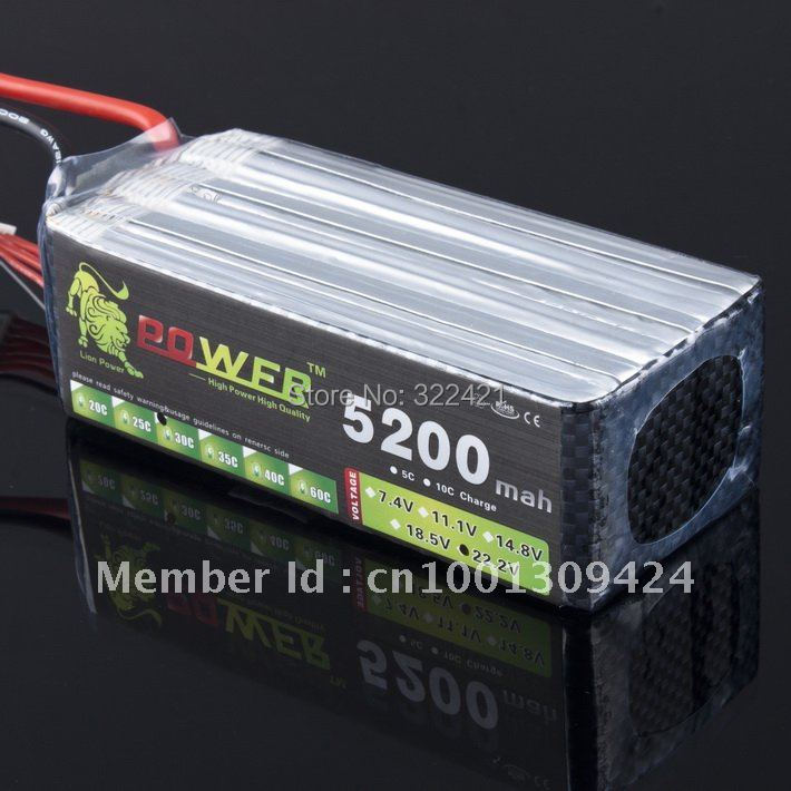 Lipo Li-poly Lithium-Polymer 22.2v 5200mah 30C-40C 6S Battery LiPoli 22,2V 5200mAh 30C 6S1P Akku Batterie<br><br>Aliexpress