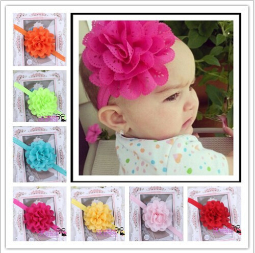 2014 Girl's Head Accessories hairband Baby Headband flower princess headband elastic flower hairband free shipping(China (Mainland))