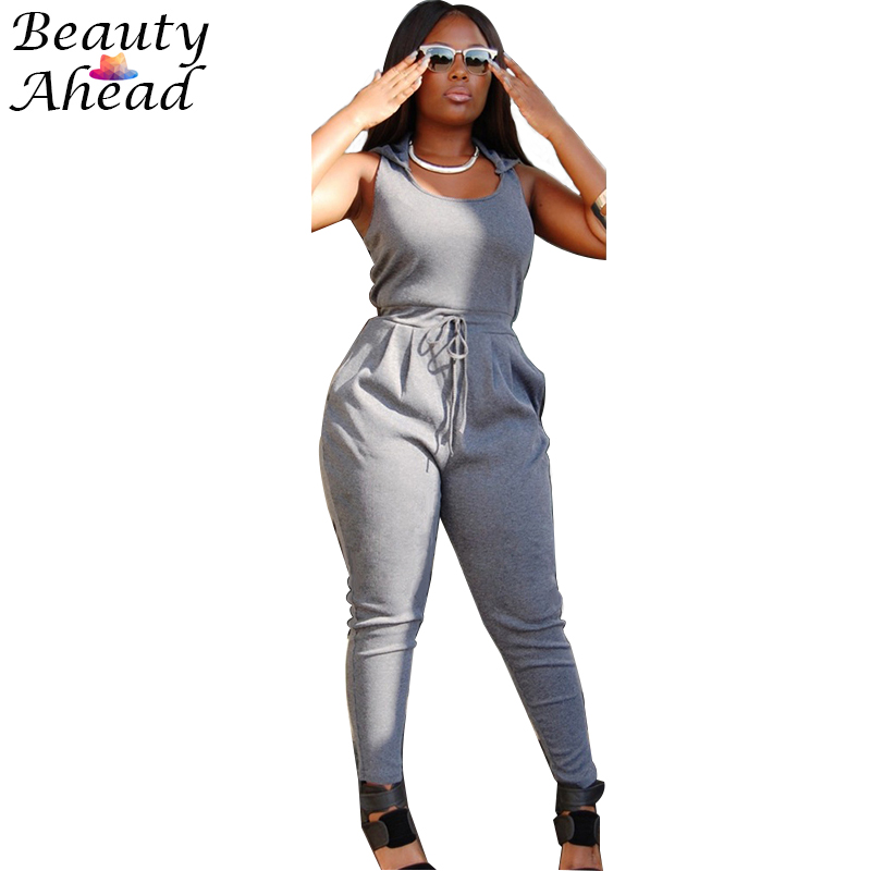 2015 Fashion Women Jumpsuit Romper O-neck Sleeveless Long Pants Slim Bodysuit Plus Size Zipper Hooded Jumpsuits Womens Jumpers(China (Mainland))