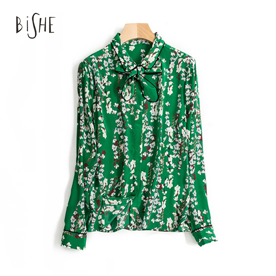 BiSHE 2017 Spring Summer Women Long Sleeve Flower Printed Bow Tie Shirt Soft 100% Real Silk Chiffon Blouses High Quality 3 Color(China (Mainland))