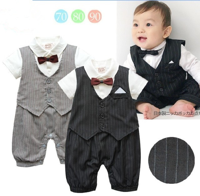 Newborn baby boy clothes gentleman style clothing Kids summer short-sleeved boys tuxedo black and gray bow tie striped Romper(China (Mainland))
