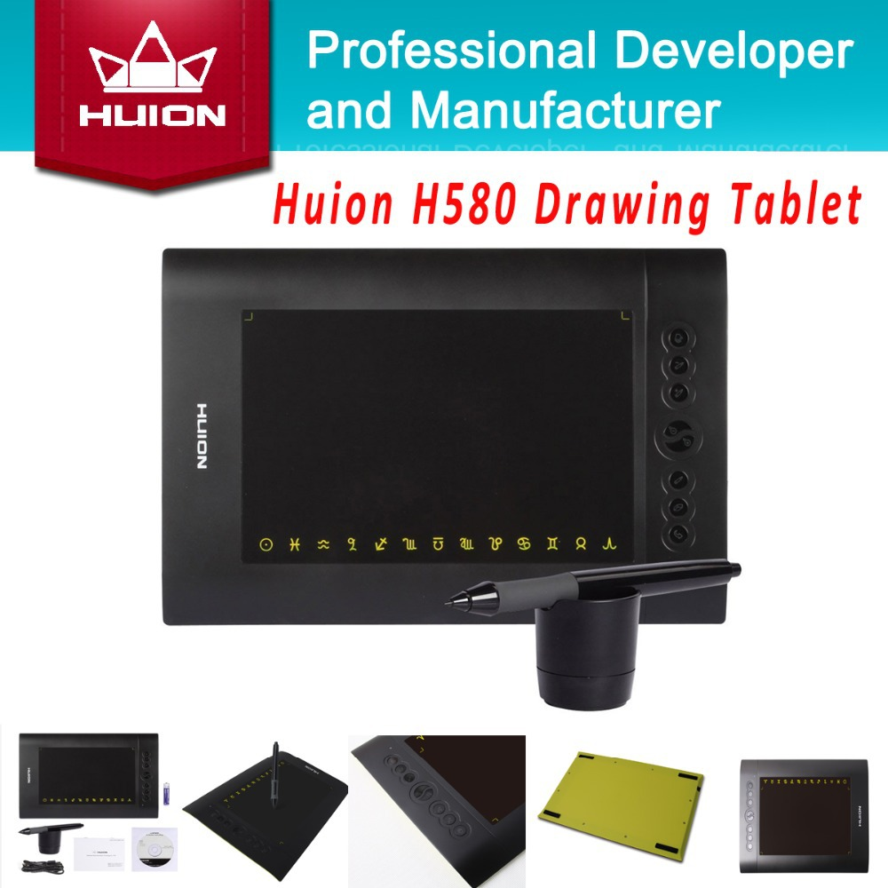 "Factory Price HUION H580 8"" x 5"" Animation Graphic Drawing Tablets New 2014 Professional Signature Tablet Black With Digital Pen(China (Mainland))"