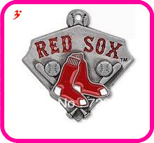 free shipping 10pcs a lot red enamel antique silver plated single-sided Boston Red Sox charms jewelry