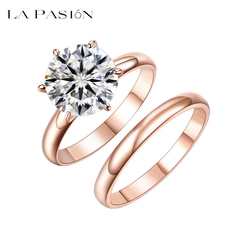 LA PASION Fashion Rings For Women 2ct Princess Cut Square CZ Diamond Jewelry Womens Wedding Rings 18k Rose Gold Plated 3 Colors(China (Mainland))