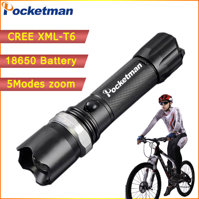 High Power 3800 Lumens CREE XML-T6 5 Modes Flashlight LED Flashlight Waterproof Zoomable Torch Lights 18650 Or AAA Lampe Torche(China (Mainland))