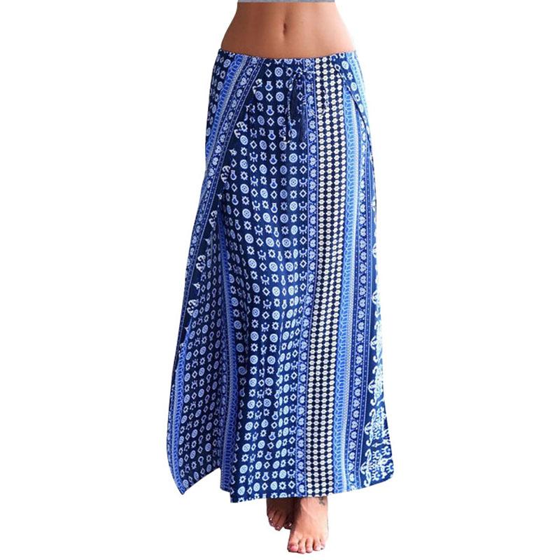 2016 Summer New Style Bohemian Print Women Maxi Skirt Split Elegant Long Skirt High Waist Skirts ...
