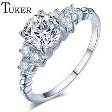 TUKER Fashion Zirconia Wedding Engagement Rings For Women white Gold Plated Fashion Jewelry Female Ring Bijoux  Wholesale
