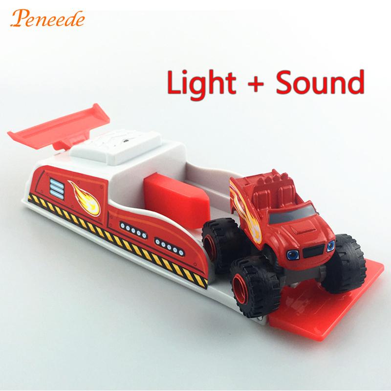 New Light and Sound Launcher Blaze Monster Ichudo Machines Kid Toys Vehicle Car Irushka Flash and Miracle Machines With Catapult(China (Mainland))