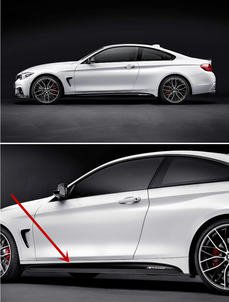 Car side sticker design - For F32 4 Series Coupe M Sport M Performance X2 Side Skirt Decoration