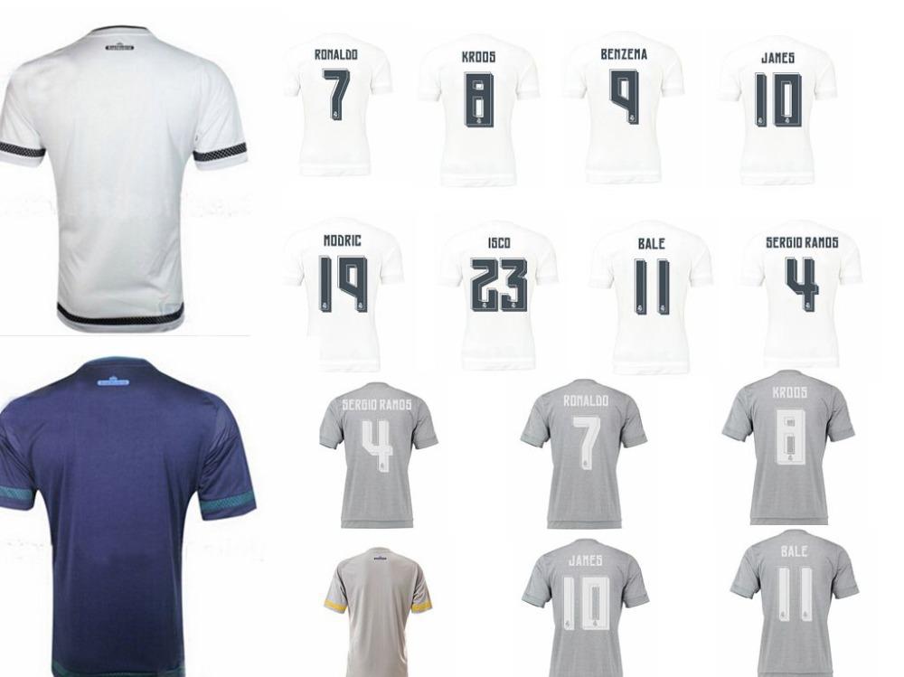 2016 Real Madrid New Home 15/16 Soccer jersey Champions league patch 2015 LUCAS SILVA RAMOS RONALDO BALE JAMES ISCO DE GEA(China (Mainland))
