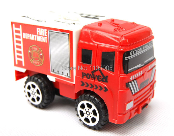2014 Hot Sale Red Color Plastic Boy Favorite Pull Back Fire Fighting Truck Children Best Birthday/Christmas Gift(China (Mainland))