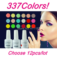 Free Shipping 12Pcs/lot 15ml 2015 New Gelexus Soak Off UV Nail Gel Polish For Salon UV Gel 337 Fashion Colors