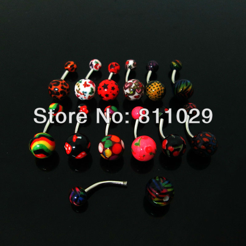 Hot wholesale 120pcs Thermal Transfer logo acrylic mixed 12 styles belly button ring curved barbell navel ring free shipping