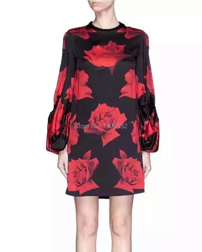 Women Runway Dress 2016 High Quality Luxury Brand Women Rose Flower DressОдежда и ак�е��уары<br><br><br>Aliexpress