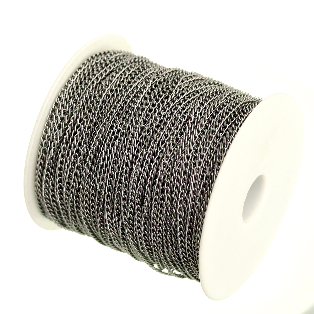 100m lot in Bulk Gunmetal Black Plated Cable Chain Findings for Necklace Bracelets Jewelry Making