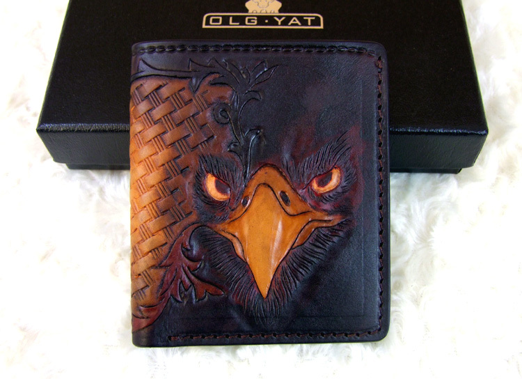 Hong Kong OLG. YAT Handmade carving eagle mat  Mens brief paragraph (vertical)purse/ wallet Italy tanning pure leather wallets<br><br>Aliexpress