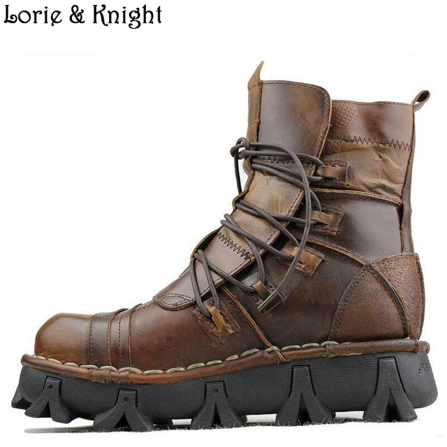 Fashion Cowhide Genuine Leather Military Uniform Boots Gothic Skull