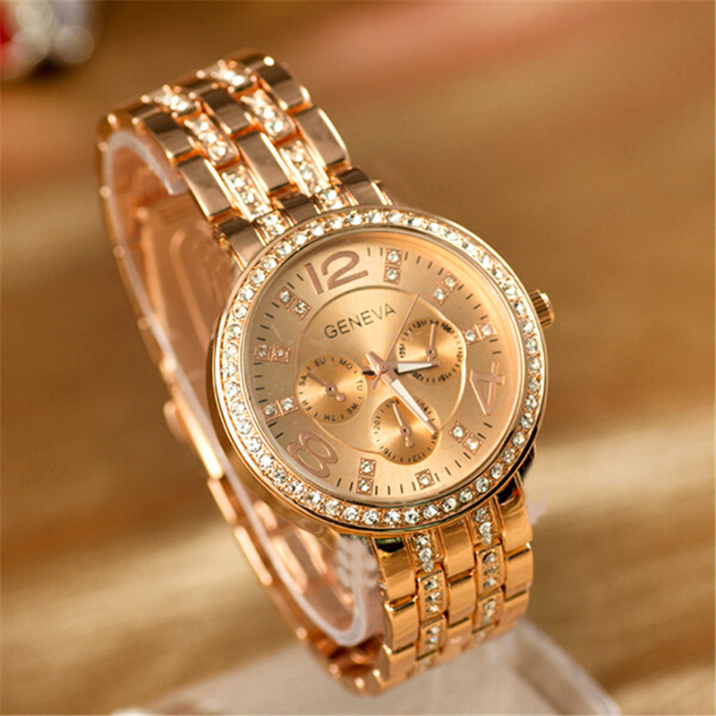 2016 New Famous Brand Women Gold Geneva Stainless Steel Quartz Watch Military Crystal Casual Analog Watches Relogio Feminino Hot(China (Mainland))