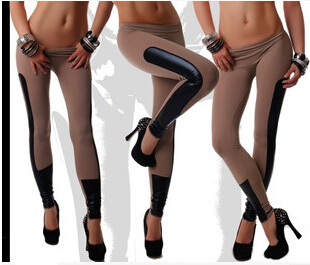 3 Colors New Punk Legging Women Solid Color Bandage Bodycon Joint BLACK/Red/Khaki Casual Cotton Elastic Leggings - Honey Bee store