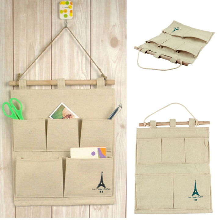 Delicate Hot Home use pastoral style Cotton Tower Storage Bag 5 pocket wall hanging bags multi-layer fabric debris storage(China (Mainland))