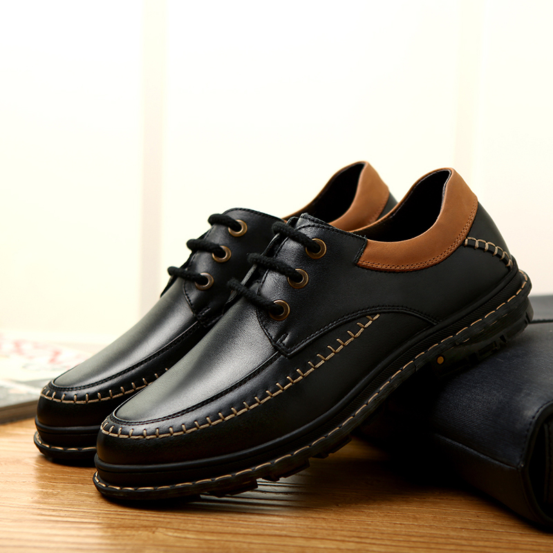 KATE BROTHER Plus Size 37-47 Hot Sale Men Flats Shoes genuine Leather Shoes Men's Oxfords Low Top Men Casual Shoes