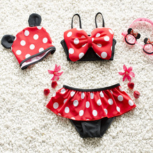 2016 Baby Swimwear Lovely Minnie Mouse Baby Kids Girls Bikini Swimsuit New Summer Two Pieces Biquini Infantil Hot Sale 1-6Y(China (Mainland))