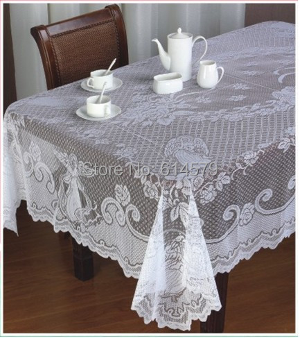 Christmas Angle Design Ivory And White Lace Floral Table Cloth Retangular Overlay Tablecloth Table Linens Shop(China (Mainland))