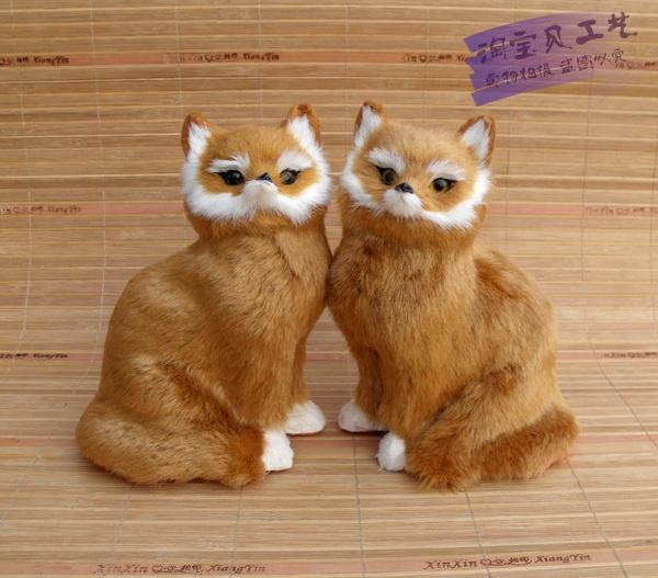 a pair of simulation fox toys polyethylene &amp; furs sitting yellow fox dolls about 15x10x20cm<br><br>Aliexpress