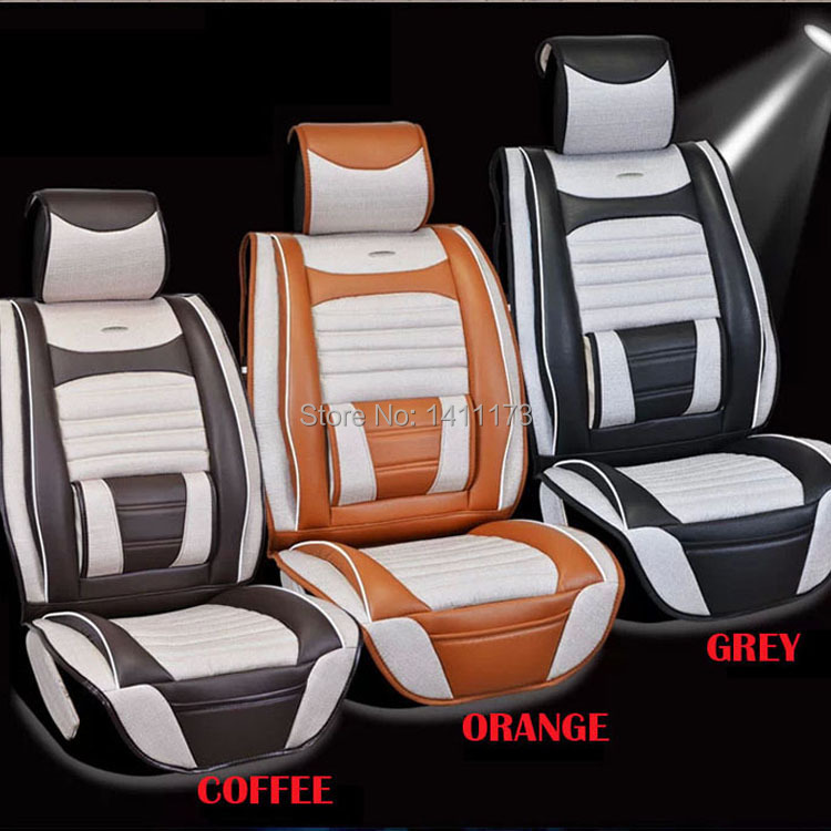 Top grade Luxury 5 seats 3 color universal car seat cushion sets  Quality linen&amp;PU auto accessories set car seat covers 7PCS/set<br><br>Aliexpress