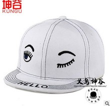 new children's autumn and winter fashion hip-hop cap and black and white big eyes eyelashes HELLO embroidered letter baseball (China (Mainland))
