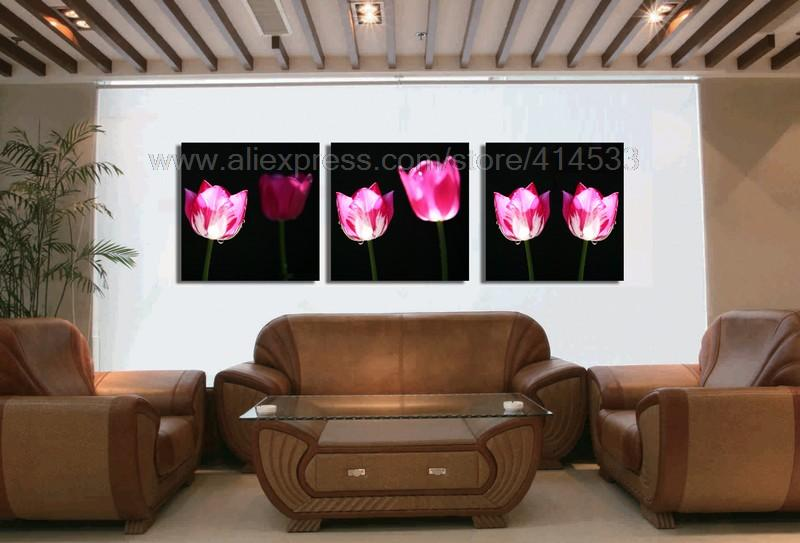 Pink flowers reproduction high quality 3 set print on for Dining room wall art on canvas