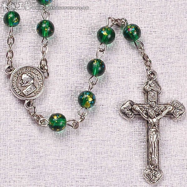 6mm Good Looking Green Glass Bead Religion Rosary