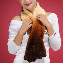 050101 Real real rex Rabbit fur scarf wrap cape shawl Great Gift color gradient design womens' scarf ladies(China (Mainland))