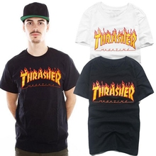 Hip Hop Summer Supremitied Trasher T Shirt Men/Women Magazine Flame Skateboards Street Tops Tee Cotton Short Sleeve Shirts