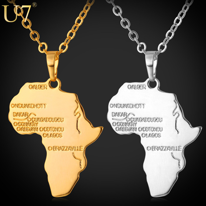 Africa Pendant 2015 New Platinum 18K Real Gold Plated Unisex Women Men Fashion African Map Pendant