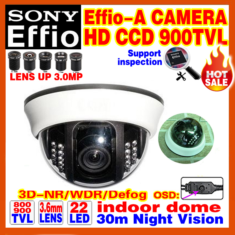 """New Style!1/3""""Sony Sensor CCD Effio 900TVL Indoor dome security surveillance hd ceiling camera system 22led infrared Analog osd(China (Mainland))"""